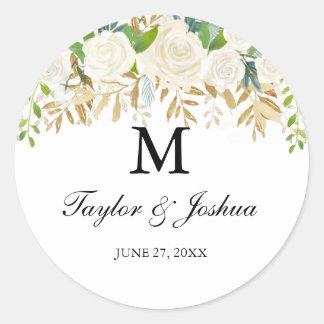 Pegatina del boda del monograma de la hoja floral
