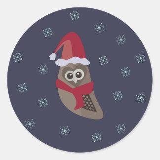 Pegatina del búho del navidad