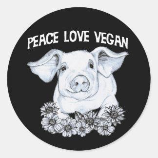 Pegatina del cerdo del vegano del amor de la paz