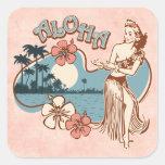 Pegatina del chica de Hula de la hawaiana