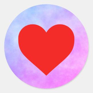 Pegatina del círculo con el corazón rojo
