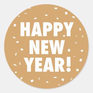 Pegatina del confeti de la Feliz Año Nuevo