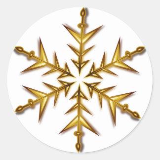 Pegatina del copo de nieve de la estrella del oro