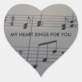 Pegatina del corazón con música y texto