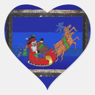 Pegatina del corazón con Santa en trineo