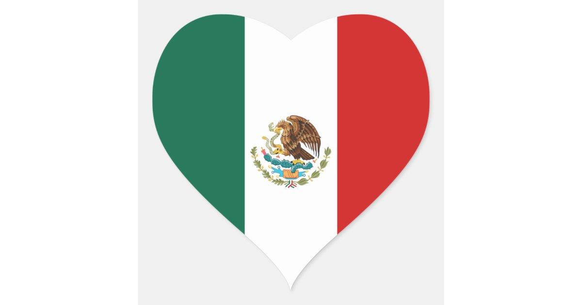 Pegatina Del Coraz 243 N De La Bandera De M 233 Xico Zazzle Es