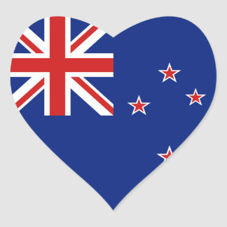 Pegatina del corazón de la bandera de Nueva Zeland