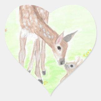 Pegatina del corazón de los ciervos de la acuarela