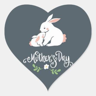 Pegatina del corazón del día de madre del conejito