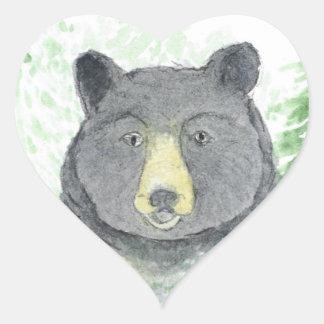pegatina del corazón del oso de peluche