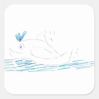 Pegatina del cuadrado de la ballena de Wally