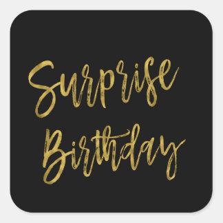 Pegatina del cumpleaños de la hoja de oro de la