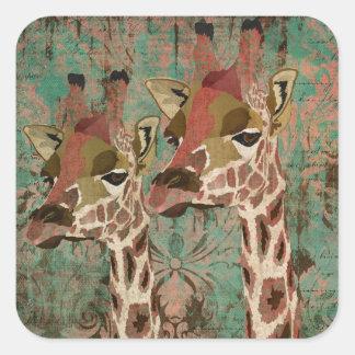 Pegatina del damasco de las jirafas de Rosa