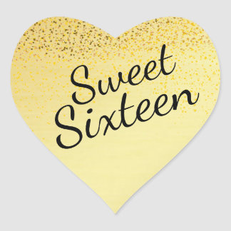 Pegatina del dulce dieciséis del corazón del