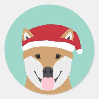 Pegatina del dux del navidad - navidad de Shiba