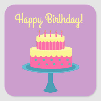 Pegatina del feliz cumpleaños con la torta