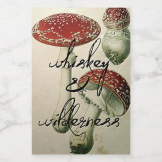 Pegatina del frasco del whisky y de la seta del