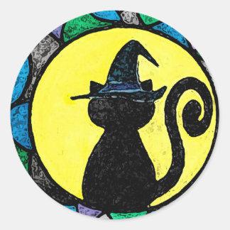 Pegatina del gato de la bruja