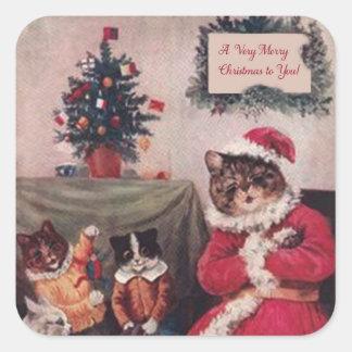 Pegatina del gato del navidad del vintage, gatos