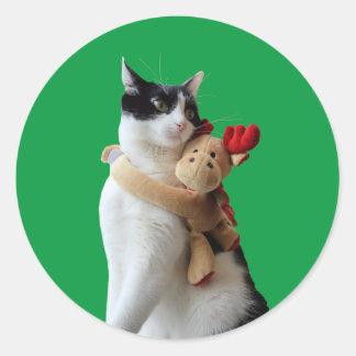 Pegatina del juguete del navidad del reno del gato
