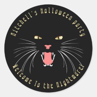 Pegatina del lema de la diversión del gato negro