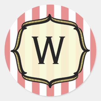 Pegatina del monograma del circo del vintage