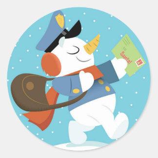 Pegatina del muñeco de nieve de la entrega