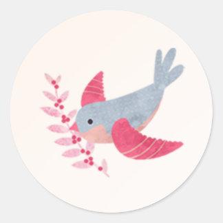 Pegatina del navidad de la paz del pájaro de la
