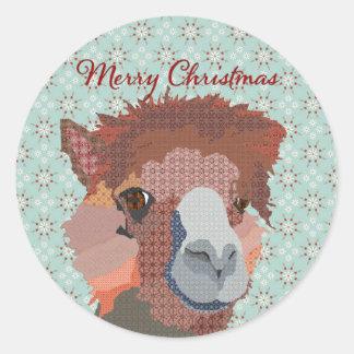 Pegatina del navidad del arte de la alpaca