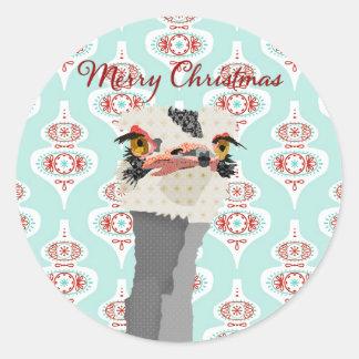 Pegatina del navidad del arte de la avestruz