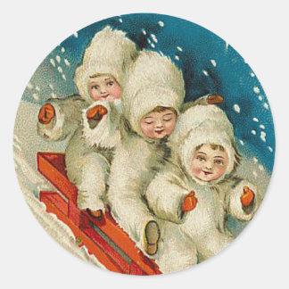 Pegatina del navidad del bebé de la nieve del