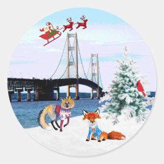 Pegatina del navidad del puente de Mackinac