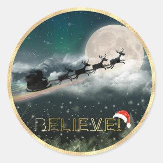 Pegatina del navidad del reno del trineo de Santa
