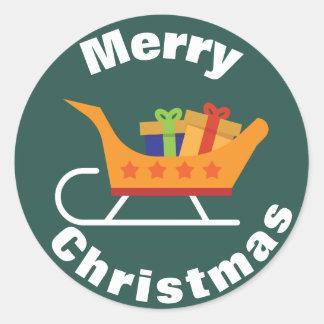 Pegatina del navidad del trineo de Santa