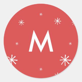 Pegatina del navidad rojo y blanco del escudo del