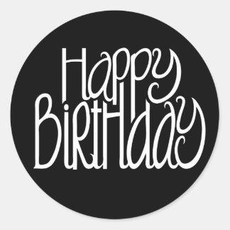 Pegatina del negro del feliz cumpleaños