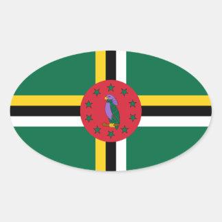 Pegatina del óvalo de la bandera de Dominica