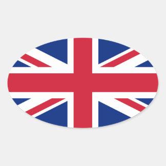 Pegatina del óvalo de la bandera de Reino Unido