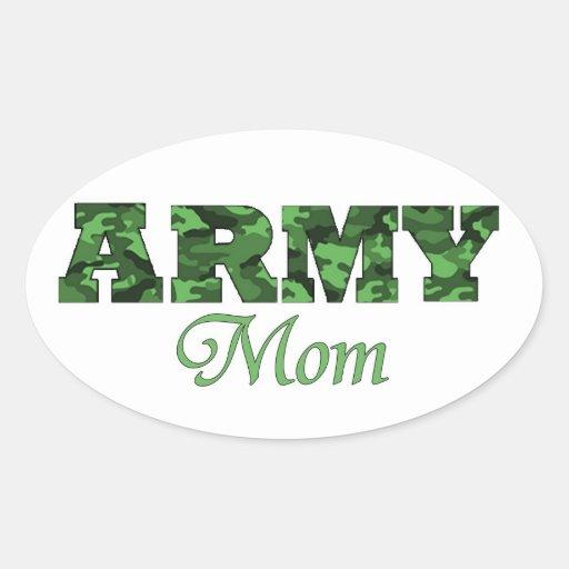 Pegatina del óvalo de la mamá del ejército