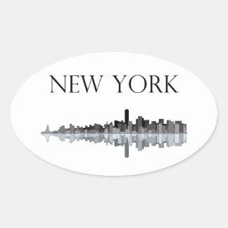 Pegatina del óvalo del horizonte de New York City