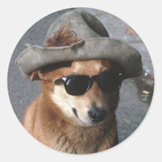 Pegatina del perro superior, brillante, pegatina