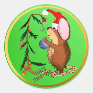 Pegatina del ratón del navidad