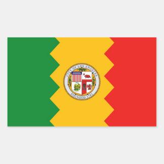 Pegatina del rectángulo con la bandera de Los Ánge