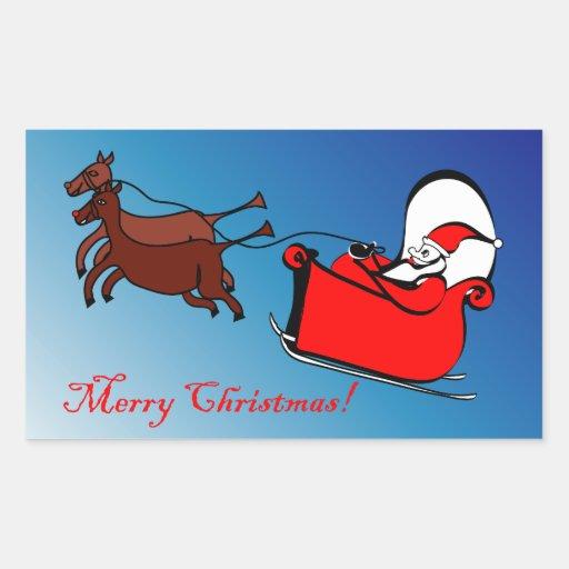 Pegatina del rectángulo con Santa en su trineo