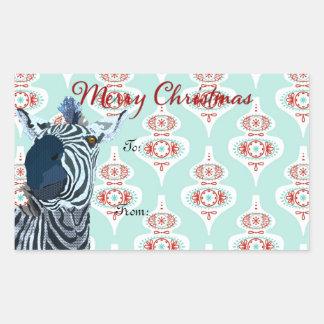 Pegatina del regalo de Navidad del arte de la cebr
