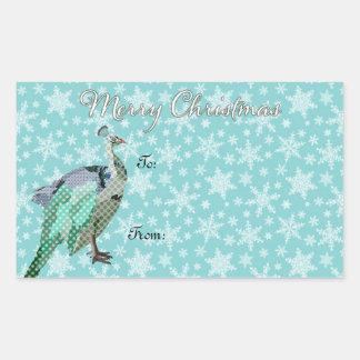 Pegatina del regalo de Navidad del arte del pavo