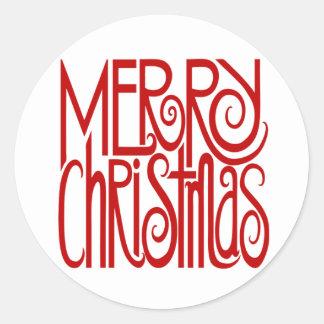 Pegatina del rojo de las Felices Navidad