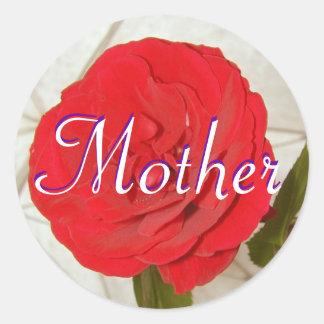 Pegatina del rosa rojo de la madre
