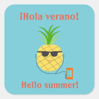 """Pegatina del verano del español """"hola"""" con la piña"""