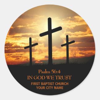 Pegatina del verso de la biblia de tres cruces